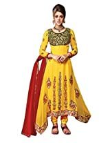 Vibes Womens Georgette Patch Work Straight Unstitched Dress Material (V203-8005 _Yellow)