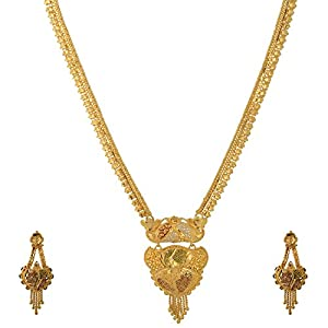 Pearl Paradise Golden Rani Necklace with light meena work for Women