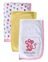 Luvable Friends 3 Pack Baby Burp Cloths, Pink