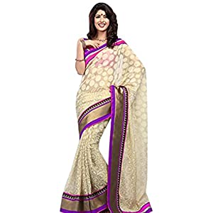Oswal Saree Collection Cream Chiffon Printed & Embroidered Saree