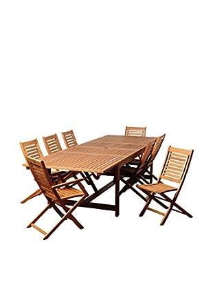 Amazonia Westbrook 9-Piece Eucalyptus Extendable Rectangular Dining Set, Brown