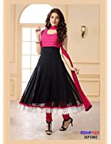 Rozdel Latest Pink And Black Georgette Anarkali Suit