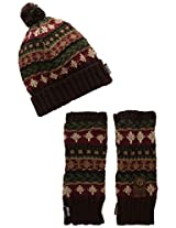 Muk Luks Women's Heritage Chunky Knit Pom Beanie and Armwarmer Set, Trailblazer, One Size