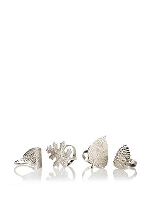 Shiraleah Set of 4 Assorted Autumn Napkin Rings, Silver