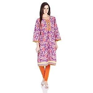Rangriti Women's Cotton Yellow Straight Kurta (VB-7037_Yellow_32) By Rangriti