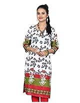 Chhipa Women Hand Block Printed White Panel Kurta(2206_White_36)