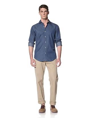 Simon Spurr Men's Washed Chambray Shirt (Indigo)