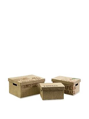 Set of 3 Tavin Jute Fabric Boxes