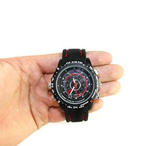 Gadget Advice Black Dial 4Gb 8M Pixels Waterproof Spy Camera Rubber Strap 6 In 1 Watch - (Sw-4W2)