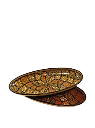 Le Souk Ceramique Honey Set of 2 Large Oval Platters, Honey/Brown