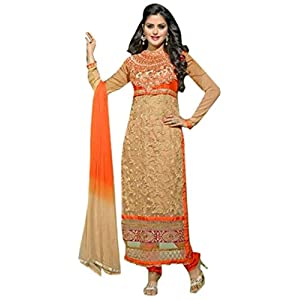Pure Bemberg Embroidered Orange Semi Stitched Straight Fit Suit - 3003