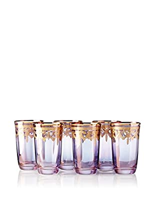 A Casa K Set of 6 Melodia 10-Oz. Engraved Crystal High Ball Glasses, Purple/Gold