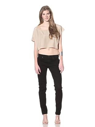 James Jeans Women's Twiggy Rider Legging (Black Suede)