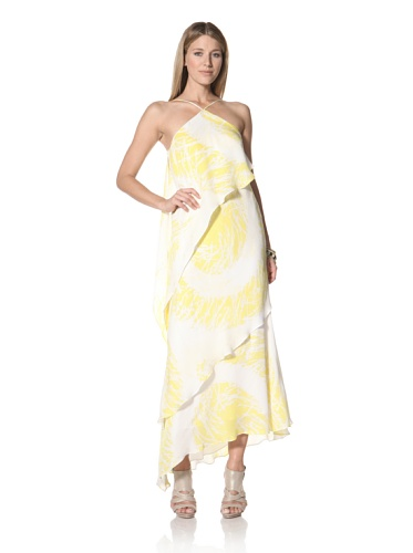 Halston Heritage Women's Asymmetrical Tiered Gown (Citron)