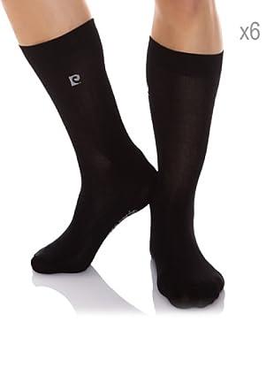Pierre Cardin Pack x 6 Pares Calcetines Hilo Escocia Algodón Mercerizado Adaptable (Negro)