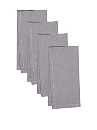 KAF Home Set of 4 Chambray Napkins, Grey