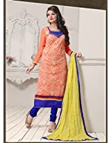 Saara Orange And Blue Embroidered Dress Material - 142D3040