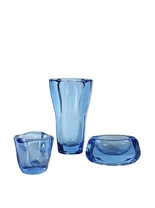 Set of 3 Mid-Century Blue Art Glass, Blue