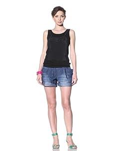 Moschino Cheap and Chic Women's Sleeveless Sweater with Ruffle Detail (Black)