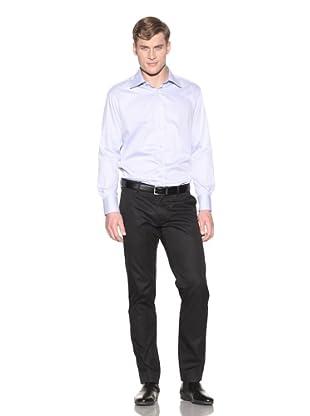 Valentino Men's Dress Shirt (Light Blue Small Stripe)