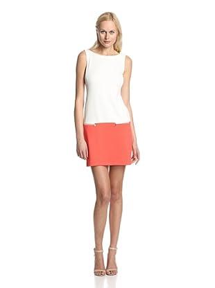 Donna Morgan Women's Drop Waist Colorblock Dress (Ivory/Really Coral)