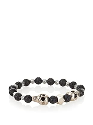 Ettika Men's Black Lava Bead Bracelet with Skulls