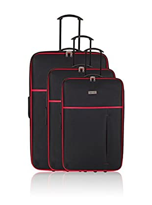 Travel ONE Set de 3 trolleys semirrígidos Woking Negro / Rojo
