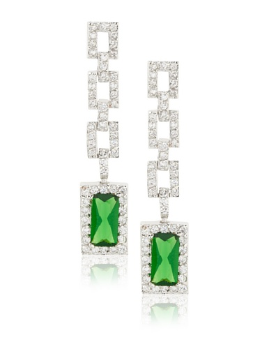 CZ by Kenneth Jay Lane Green/Clear Pave Link Drop Earrings