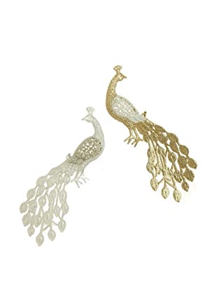 RAZ Set of 2 Peacock Ornaments