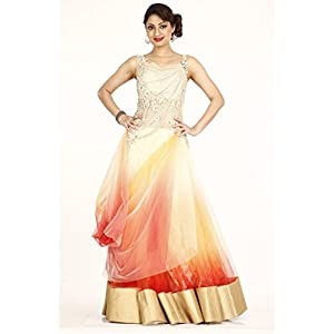 Bawree Fashions Evening Gown - Gold & Orange