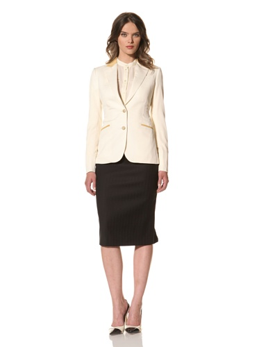 HOLMES AND YANG Women's Leather-Trimmed Suit Jacket (Cream)