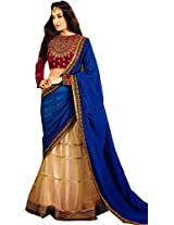 Beige Blue Wedding Wear Heavy Zardosi Hand Work Net Lehenga Sari