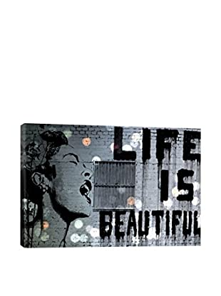 Banksy by 5By5Collective Life Is Beautiful On Metal Sheet with Lights Canvas Print