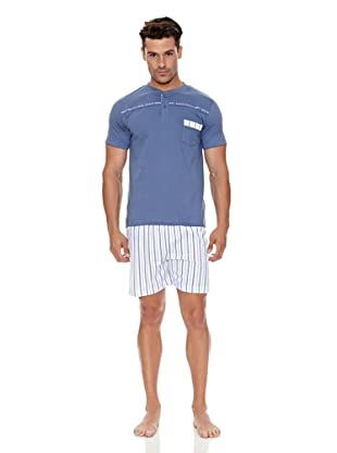 Basket Pijama Caballero Tapeta Estampado (Azul)