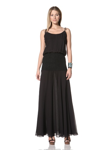 Halston Heritage Women's Blouson Dress with Tie Straps (Black)