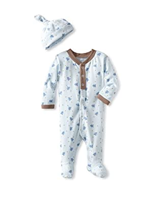 Coccoli Baby Cotton Footie with Cap (Blue Bear)