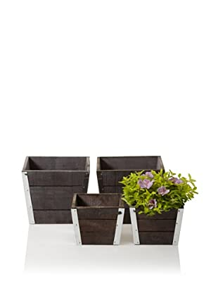 Wald Imports Set of 4 Wood Pot Covers with Metal Trim (2 Small, 2 Large), Gray/Brown