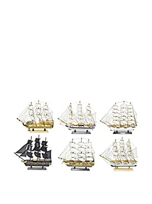 Three Hands Set of 6 Assorted Wooden Ships