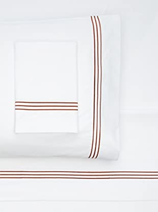 Nine Space Embroidered Sheet Set (White/Copper)