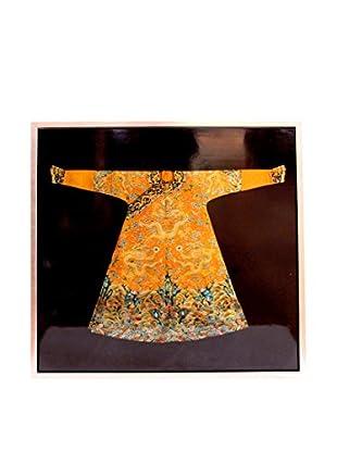 Asian Loft Chinese Kimono in a Frame, Black/Orange/Red/Green