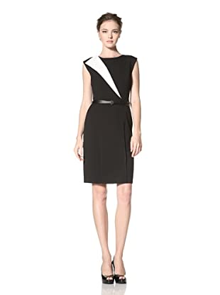 Calvin Klein Women's Belted Sleeveless Dress (Black/ivory)