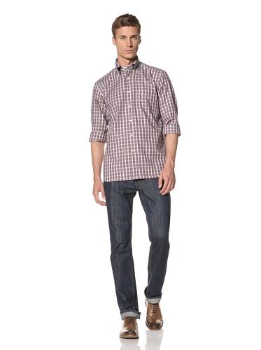 Orian Men's Checkerboard Shirt (Purple/Brown Check)