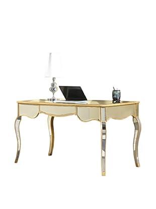 Camille 3-Drawer Mirrored Desk, Gold Leaf