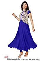 Rajnandini Women and Girls semi-stitched georgette navy blue anarkali suit - dress material