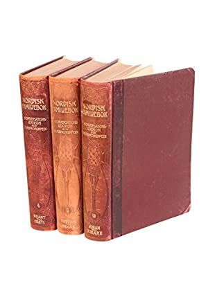 Set of 3 Designer Leather Books II, Brown/Gold