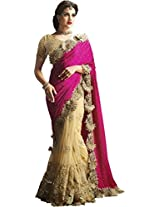 Indian Fashionista Hot Pink & Purple Embriodery Bollywood Georgette Silk Saree
