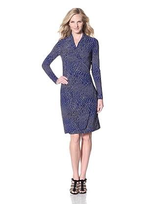 KAMALIKULTURE Women's Side Draped Dress (Cobalt Alligator)