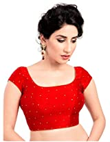 Isha Enterprise Women's Silk Blouse Material(KFB-021_Red)