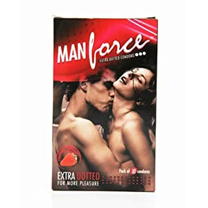 Man Force Extra Dotted Condoms -Strawberry Flavoured