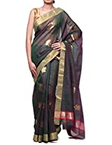 DAZZLE Dori Green Handloom Chanderi Silk Saree